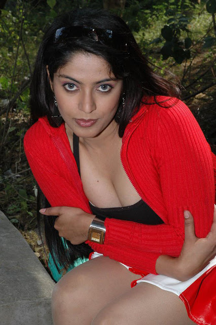 South India Cinima Actress Reshma Latest Red Sweater Open -9623