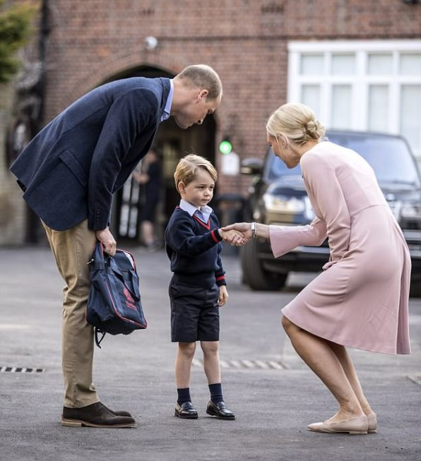 Prince George was dropped off by his father the Duke of Cambridge