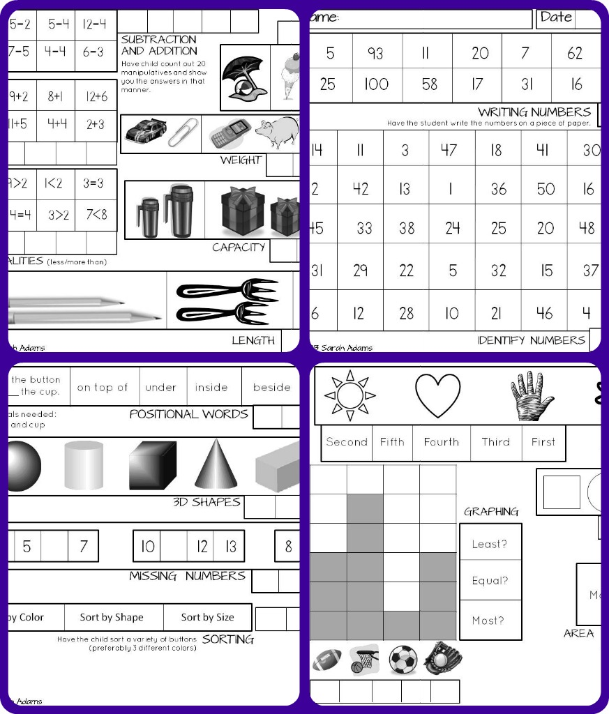 Miss A's Kindergarten: Easy to Use Math Assessment