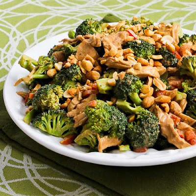 Chicken, Broccoli, and Red Bell Pepper Salad with Peanut Butter Dressing from KalynsKitchen.com