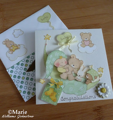 new baby handmade card example with teddy bear and rabbit green and yellow colors