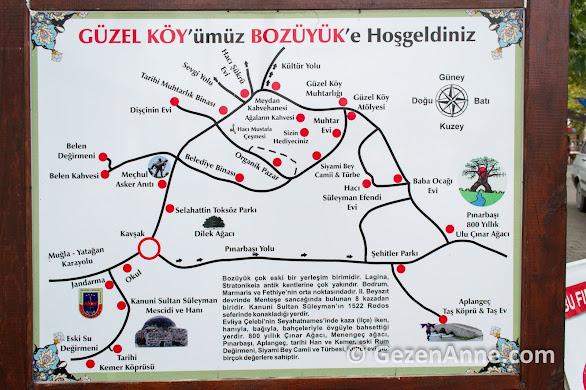 Güzel köylü dizisinin çekildiği Bozüyük köyünün ulaşım ve köy haritası, Muğla