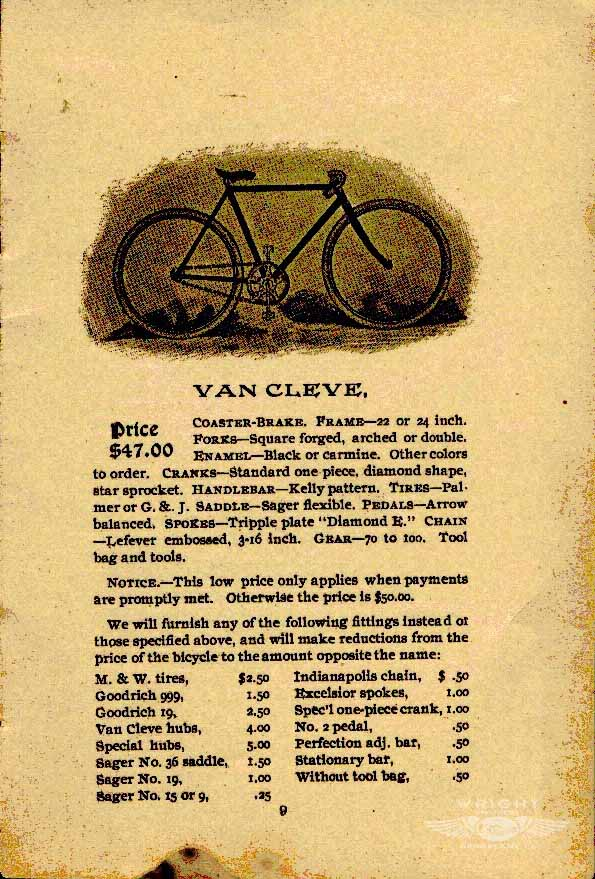 Page from old Wright Brothers bicycle catalogue