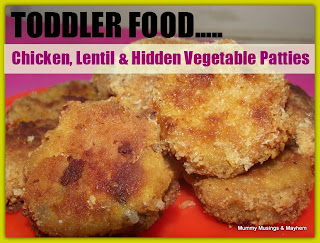 toddler food, chicken and lentil patties