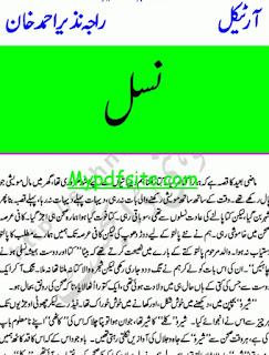 Nasal Novel By Raja Nazir Ahmed