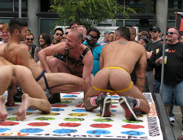 naked men playing twister