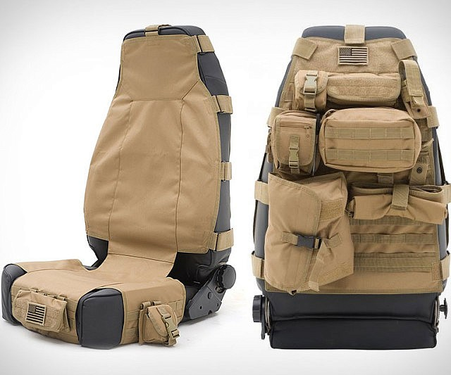 Maximize your cars limited storage space with the tactical car seat cover. Apart providing your car with some chic urban-styled decorum, it protects your cars upholstery from stains and features a plethora a differently sized compartments great for storage.