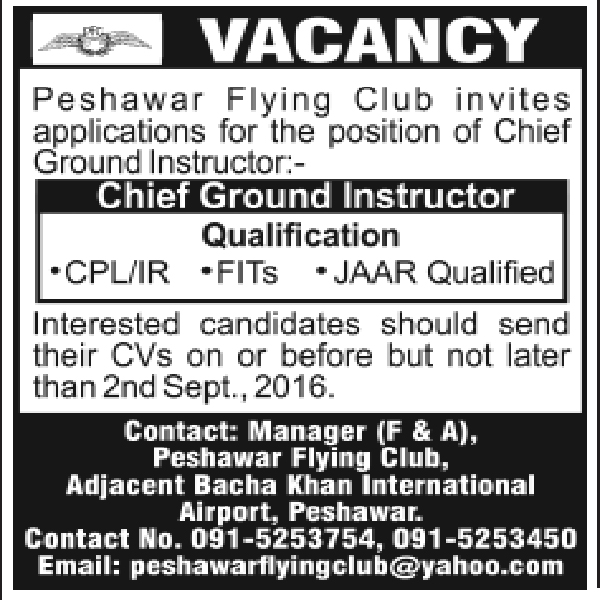 Peshawar Flying Club Peshawar Jobs 2016