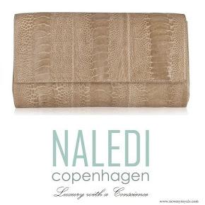 Crown-Princess Mary carried Naledi Copenhagen Allana Latte Ostrich Clutch