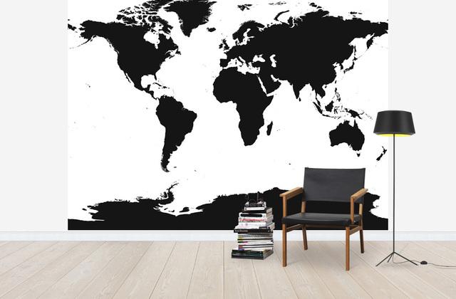 Maailmankartalle Tapetti Musta valkoinen Kartta