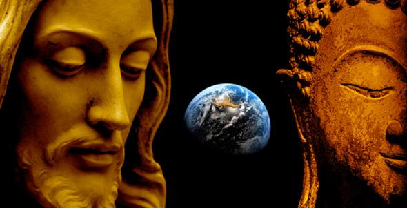 estatuas de jesus y buda con el planeta tierra entre ellos