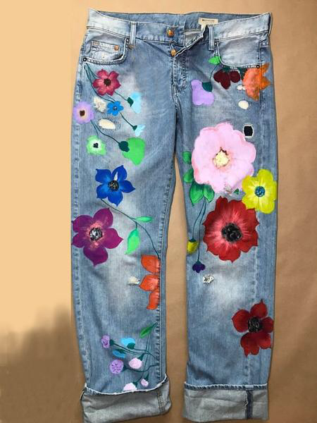 Vintage Denim Floral Casual Pants