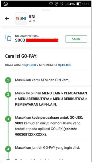 Cara Top Up Go Pay Menggunakan ATM BNI
