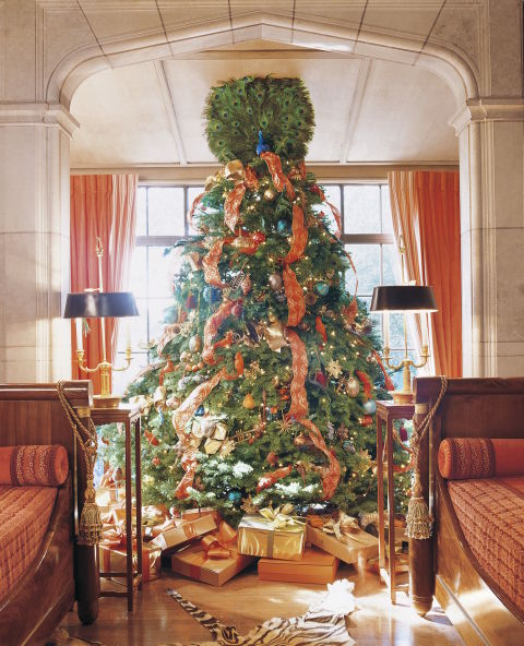 image result for beautiful Mary McDonald living room tree peacock decorated for Christmas elegant sophisticated interior design