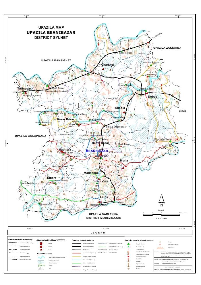 Beanibazar Upazila Map Sylhet District Bangladesh