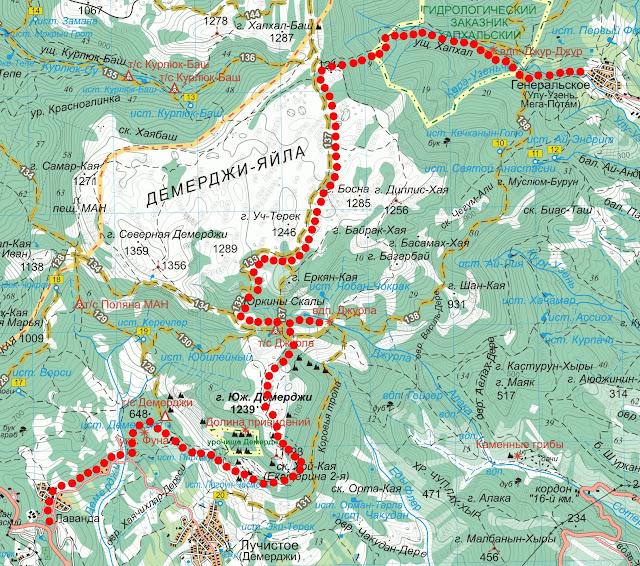 Карта маршрута Лучистое – гора Демерджи – Генеральское