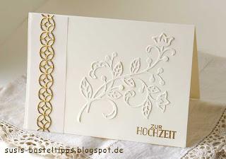 Hochzeits-Karte mit Stampin Up thinlits blütenpoesie