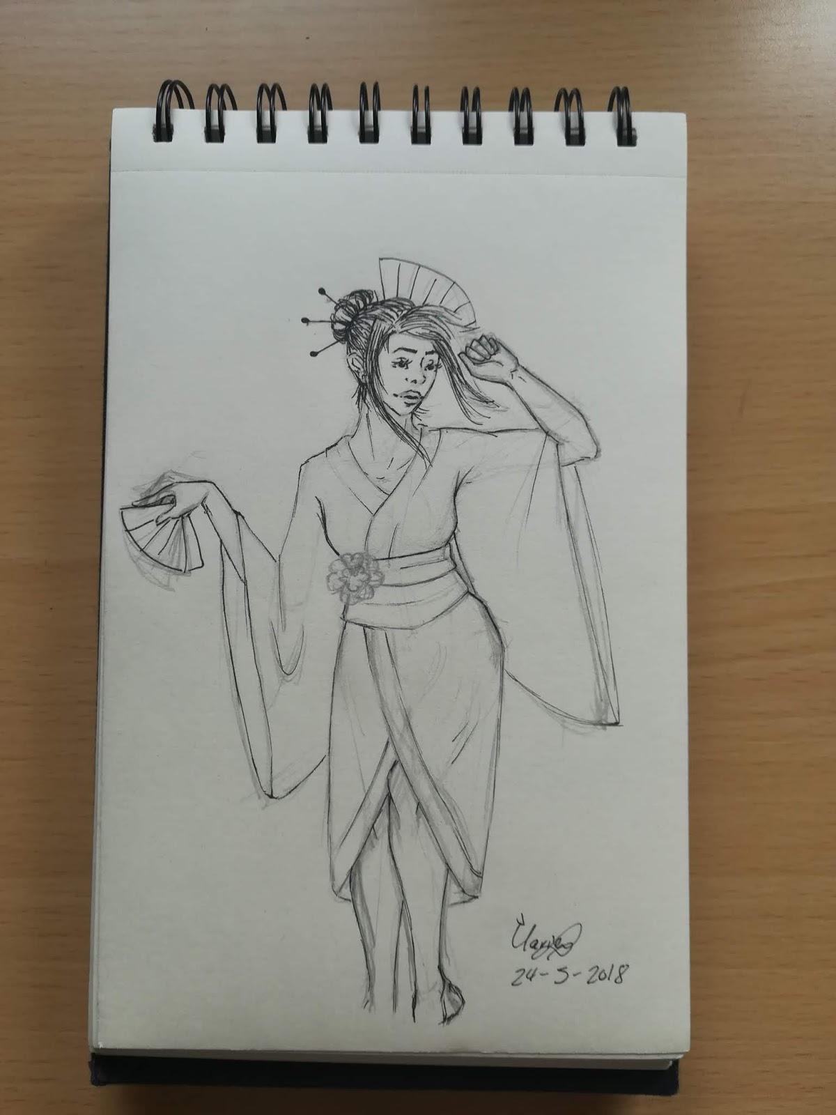 Estudio artistico dibujos y diseños: Japonesa con kimono
