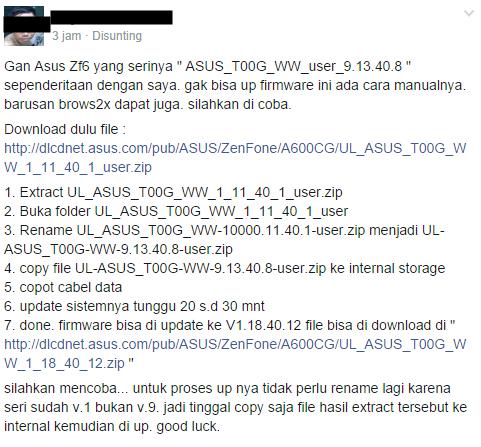 Cara Update Firmware ASUS Zenfone 6 Versi ASUS_T00G_WW_user_9.13.40.8