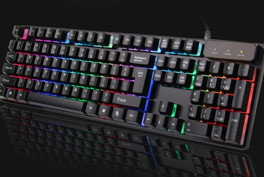 Kr6300 tastiera gaming led keyboard retro illuminata multicolor rgb