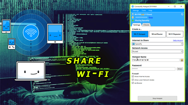 Download the best programme for share wi-fi  from you're computer (mobile hotspot not working in windows 7/8/10)