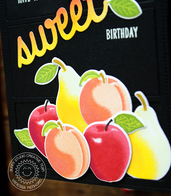 Sunny Studio Stamps: Fruit Cocktail Comic Strip Everyday Dies Black Die Cut Background Fruit Themed Birthday Card by Vanessa Menhorn