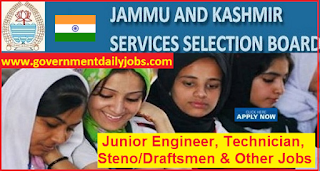 JKSSB Recruitment 2017 Notification Apply 1140 MVI, Assistant, Draftsman Steno Jobs