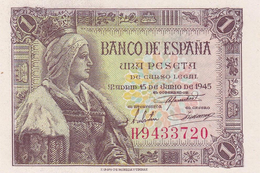 Spain Banknotes 1 Spanish Peseta note 1945 Queen Isabella I of Castile