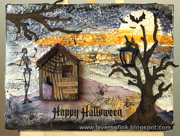 http://layersofink.blogspot.com/2014/10/spooky-mixed-media-canvas-tutorial.html