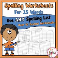 Spelling Worksheets using 15 Words