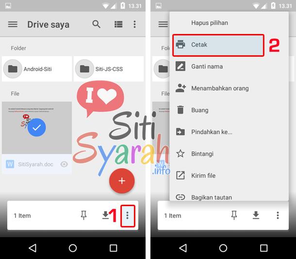 langkah print document dari android