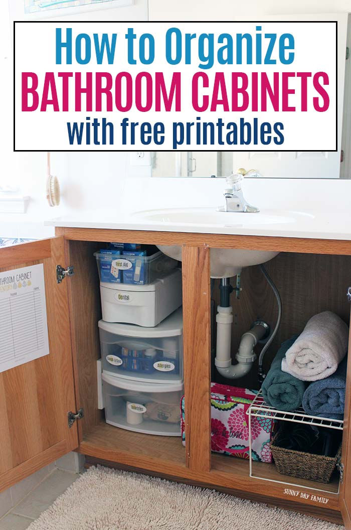 Learn how to organize bathroom cabinets the easy way with free printables! Get your bathroom organized with medicine cabinet labels and a printable inventory sheet. Organize your medicines, organize beauty products and organize toiletries with free printable bathroom labels. #ad #FLCareOne #organize #bathroomcleaning #declutter #organized #labels