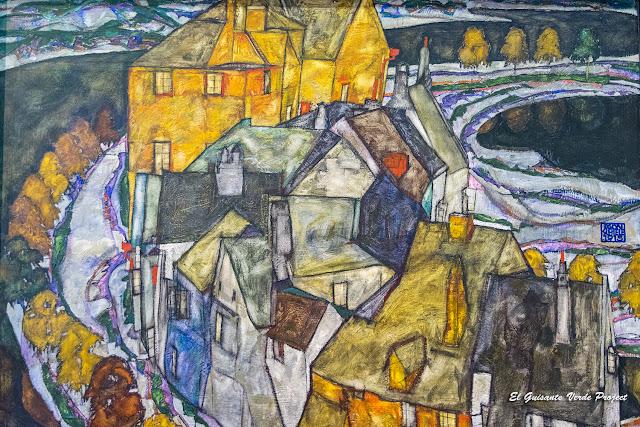 Egon Schiele, Media Luna Casas II, Leopold Museum, Viena, por El Guisante Verde Project