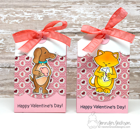 Valentine Treat holders by Jennifer Jackson | Sending Hugs Stamp Set and Fancy Edges Tag Die Set by Newton's Nook Designs #newtonsnook #handmade
