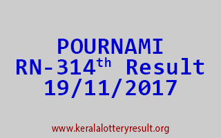 POURNAMI Lottery RN 314 Results 19-11-2017