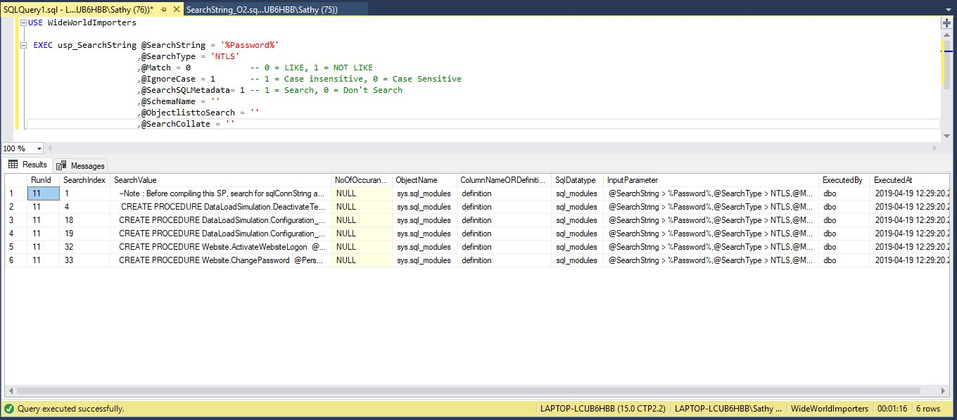 Search t sql stored procedure text