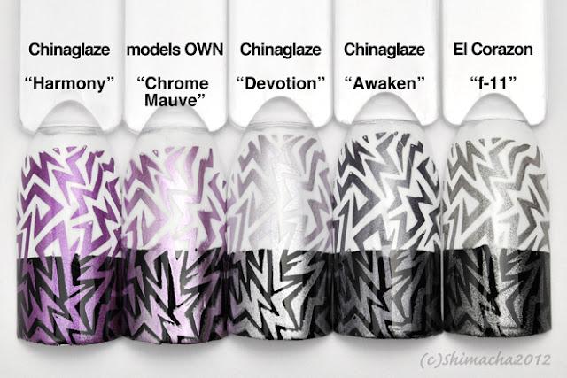 Stamping polish purple, gray, スタンピングポリッシュ