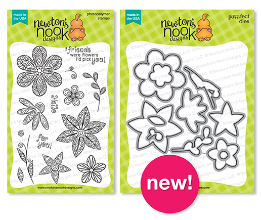 Beautiful Blossoms Stamp set and Die Set | Newton's Nook Designs #newtonsnook