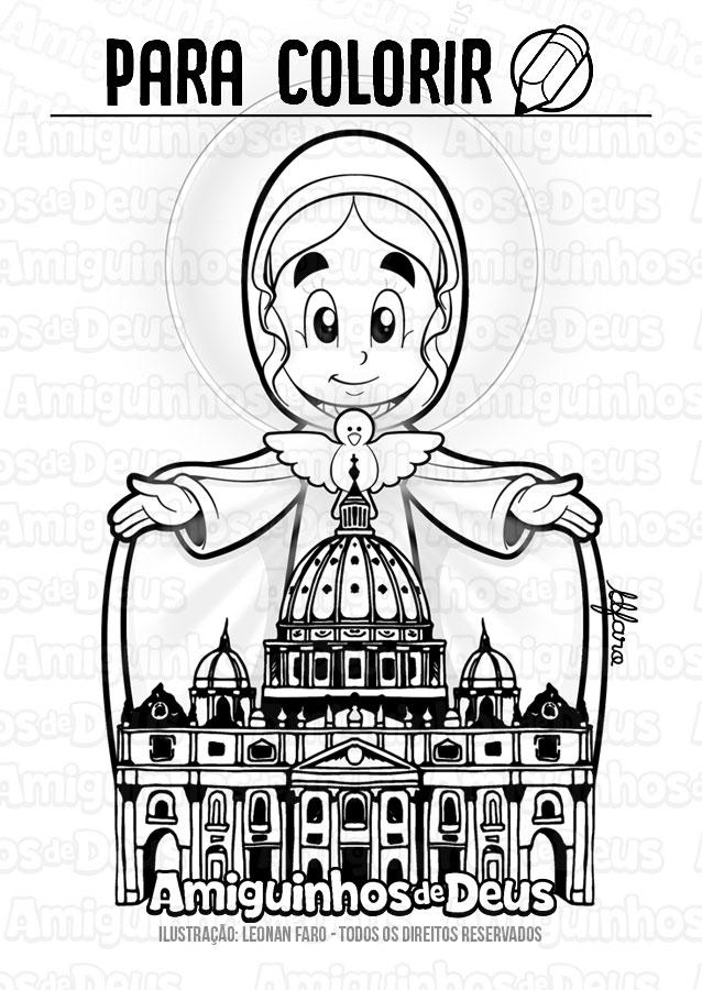 maria mãe da igreja desenho para colorir