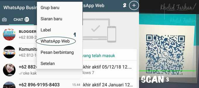 Tutorial login WhatsApp Web di Aplikasi WA Handphone