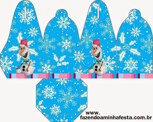 Caja para cupcakes, chocoltes o golosinas de Frozen para Navidad.