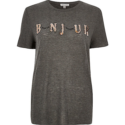 bonjour top, river island t-shirt sequinned, sequinned t-shirt,