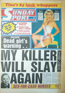 Front cover of the the Sunday Sport newspaper dated 8 Feb 1987