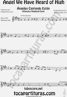 Partitura de para Saxofón Alto y Sax Barítono Canción de Navidad Carol Song for Christmas Sheet Music for Alto and Baritone Saxophone Music Scores