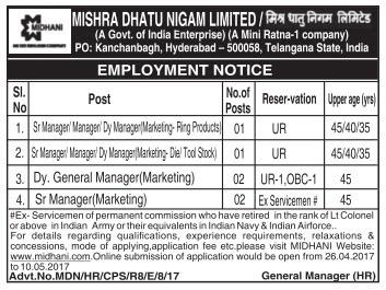 MIDHANI Recruitment 2017 midhani.com Apply Online Application Form