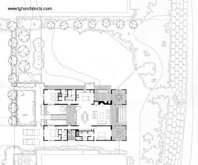 Plano de planta de casa de playa californiana
