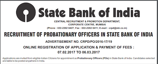 SBI PO Recruitment March 2017 Total 2403 Posts
