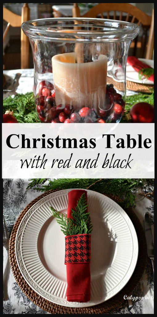 Christmas Table with Red and Black using fresh greens