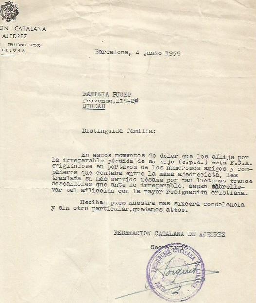 Carta de pésame de la Federación Catalana de Ajedrez