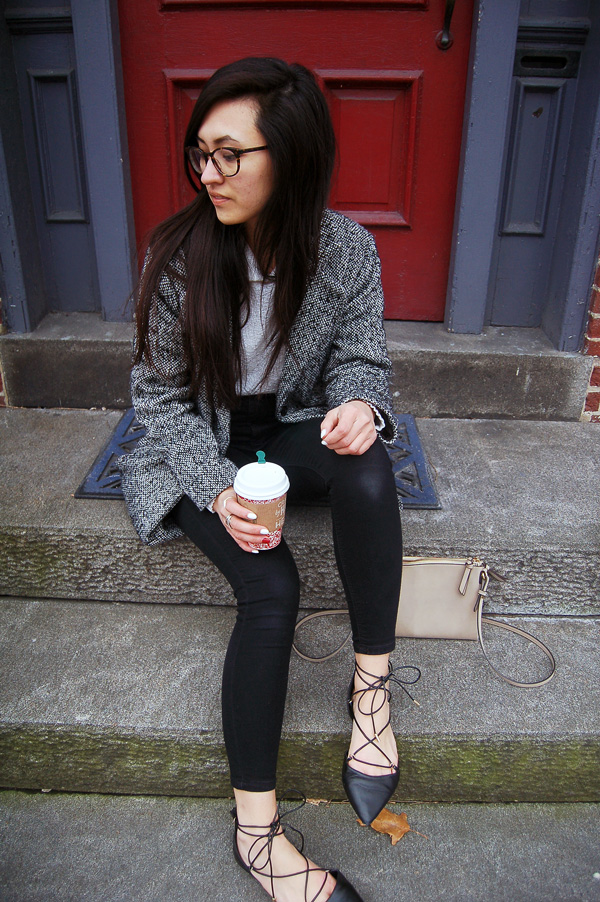 Gray Coat Black Lace Up Flats